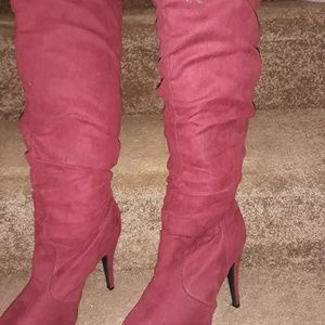 Maroon suede knee length boots 6.5